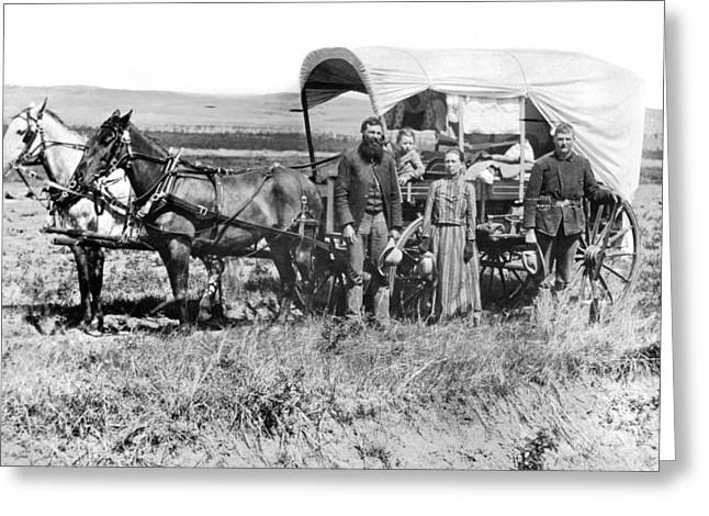 Pioneer Family And Wagon Greeting Card by Underwood Archives