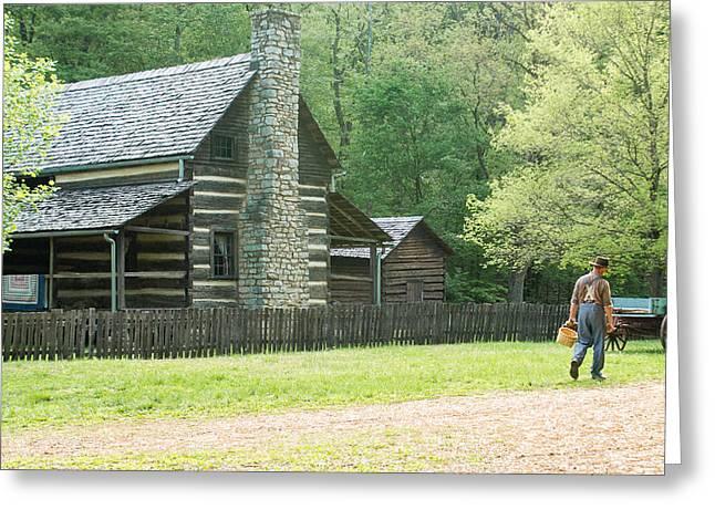 Pioneer Farmer At Work Greeting Card by Douglas Barnett