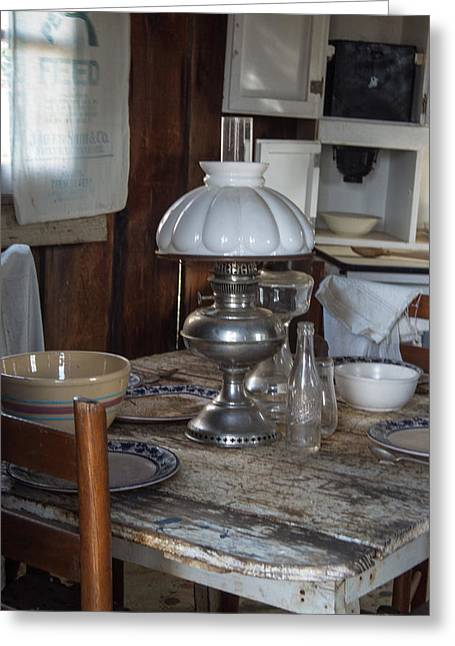 Pioneer Kitchen Table 1 Greeting Card by Douglas Barnett
