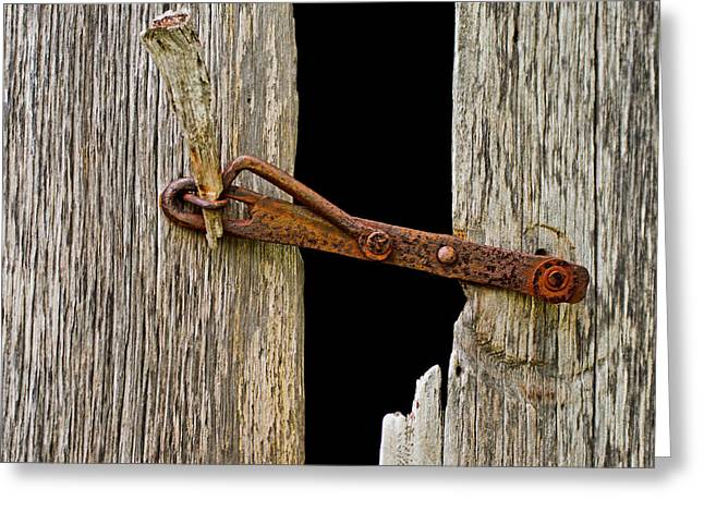 Greeting Card featuring the photograph Pioneer Latch by Allen Biedrzycki