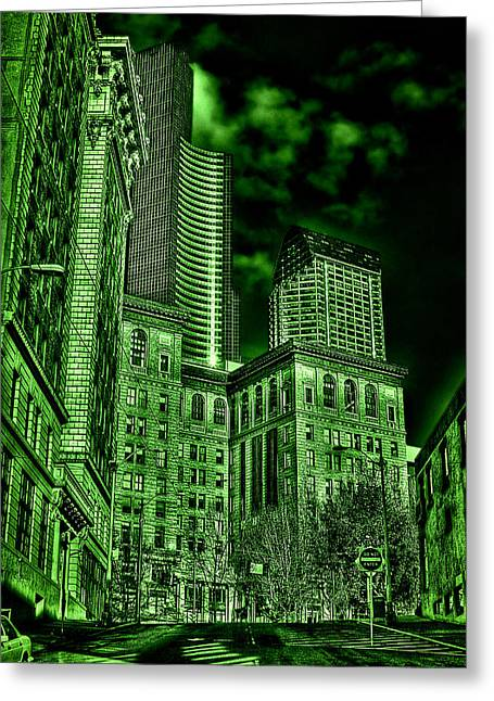 Pioneer Square In The Emerald City - Seattle Washington Greeting Card by David Patterson