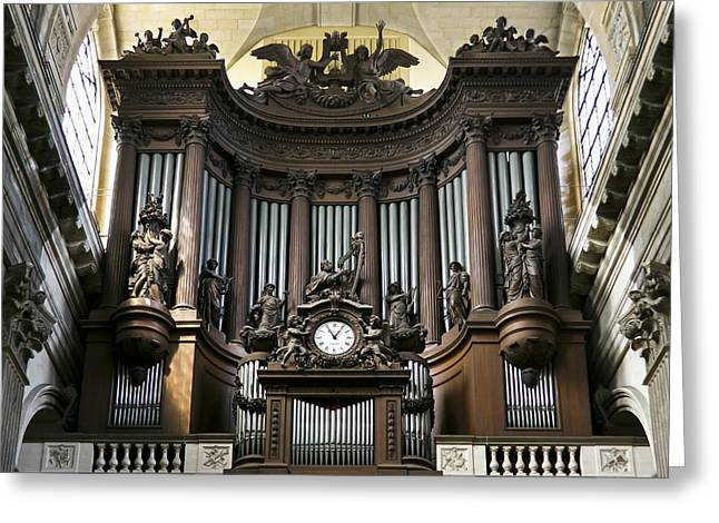 Pipe Organ In St Sulpice Greeting Card