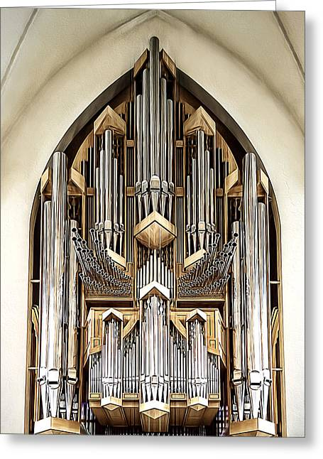 Pipe Organ Greeting Card by Maria Coulson