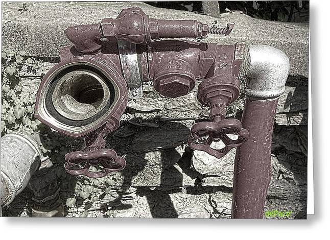 Pipe Tap Overheated Greeting Card by KJ DePace