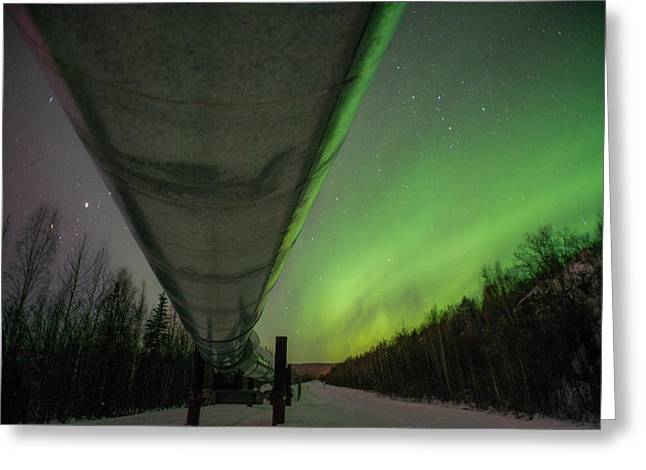 Pipeline And Aurora Greeting Card