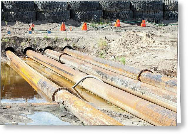 Pipeline Construction Greeting Card by Ashley Cooper