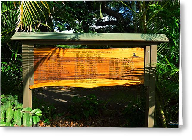 Greeting Card featuring the photograph Pipeline Masters Winners Plaque by Aloha Art