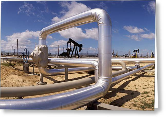 Pipelines On A Landscape, Taft, Kern Greeting Card by Panoramic Images