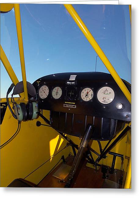 Piper Cub Dash Panel Greeting Card