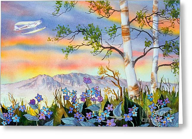 Greeting Card featuring the painting Piper Cub Over Sleeping Lady by Teresa Ascone