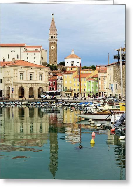 Piran, Primorska, Slovenia. View Greeting Card