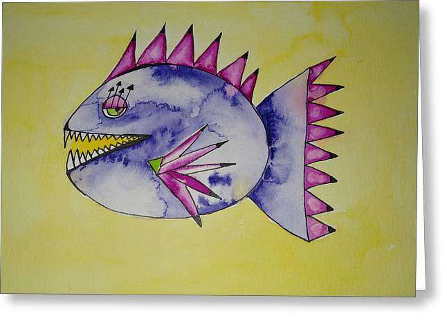 Piranha Greeting Card by Michelle Thompson