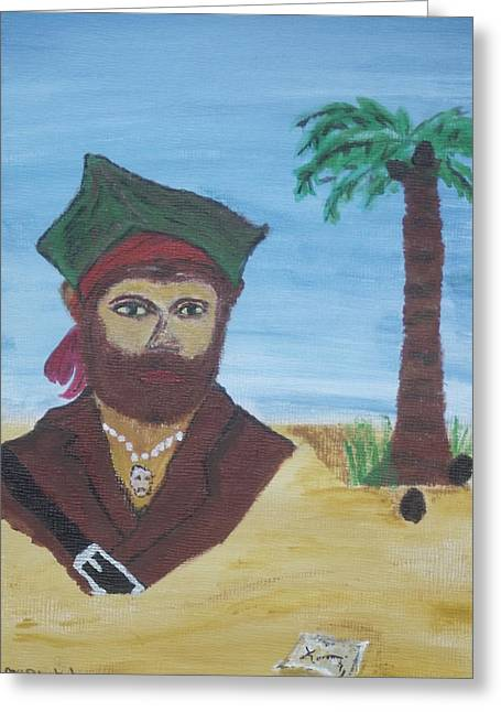 Greeting Card featuring the painting Pirate Bust by Martin Blakeley