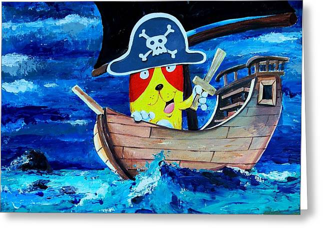 Pirate Kitty Greeting Card by Scott Nelson