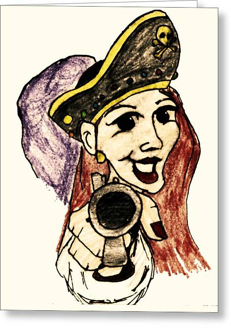 Pirate Lass Greeting Card by Jonathan Wilkins