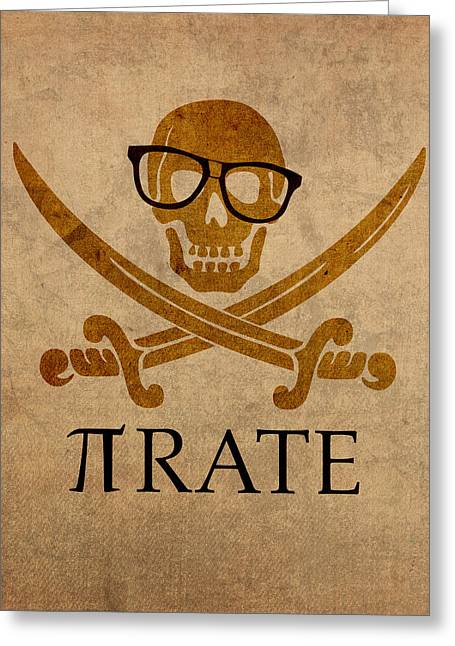 Pirate Math Nerd Humor Poster Art Greeting Card by Design Turnpike