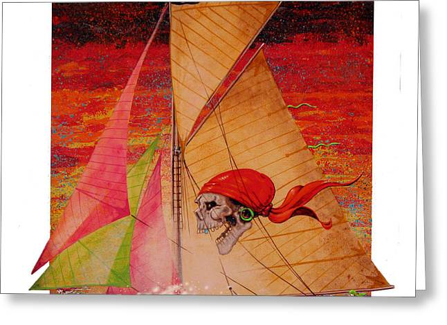 Greeting Card featuring the painting Pirate Passage by David  Chapple