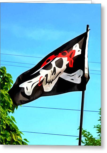 Pirate Ship Flag Of The Skull And Crossbones Greeting Card by Lanjee Chee