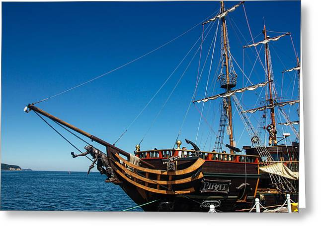 Pirate Ship Greeting Card by Pati Photography