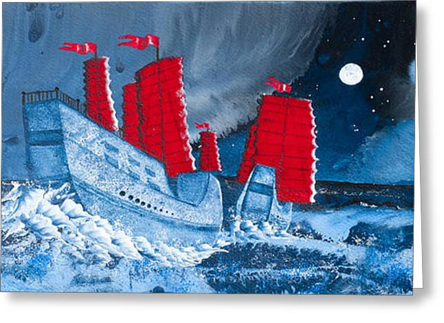 Pirate Ships In A Storm In The  South China Sea Greeting Card by Glenn  Russell