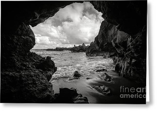 Pirate Treasure Cave Pa'iloa Beach Greeting Card by Edward Fielding