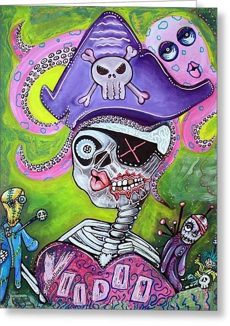 Pirate Voodoo Greeting Card by Laura Barbosa