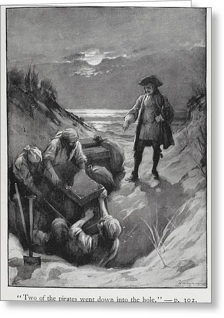 Pirates Burying Treasure Greeting Card