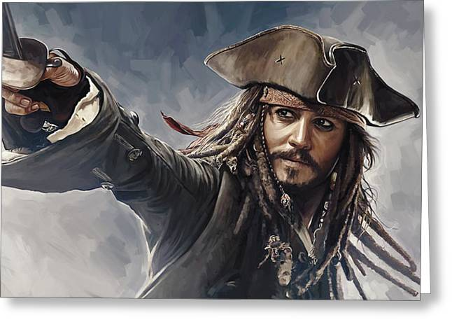 Pirates Of The Caribbean Johnny Depp Artwork 2 Greeting Card by Sheraz A