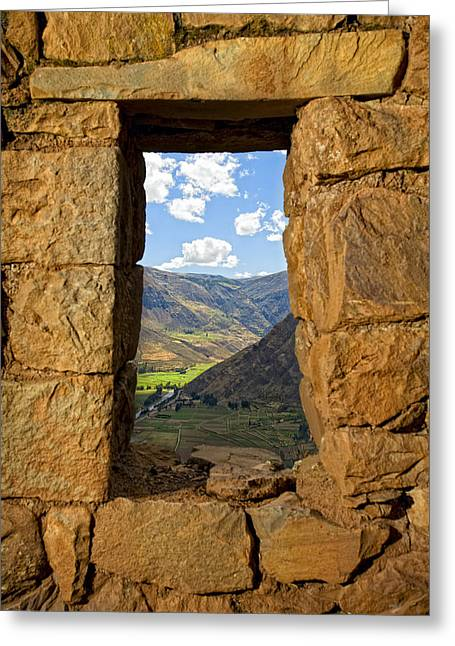 Pisac Ruins Greeting Card by Alexey Stiop