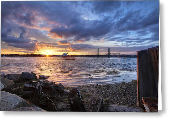 Piscataqua Sunset Greeting Card by Eric Gendron