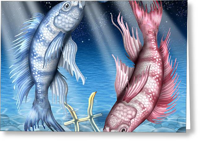 Pisces Greeting Card by Ciro Marchetti