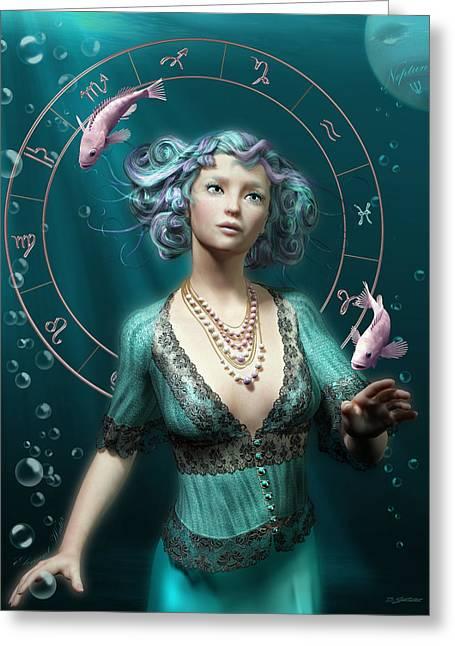 Pisces Zodiac Circle Greeting Card by Britta Glodde