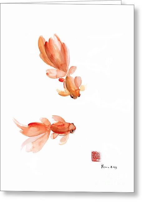 Pisces Zodiac Fishes Orange Red  Pink Fish Water Goldfish Watercolor Painting Greeting Card by Johana Szmerdt