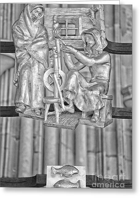 Pisces Zodiac Sign - St Vitus Cathedral - Prague - Black And White Greeting Card by Ian Monk