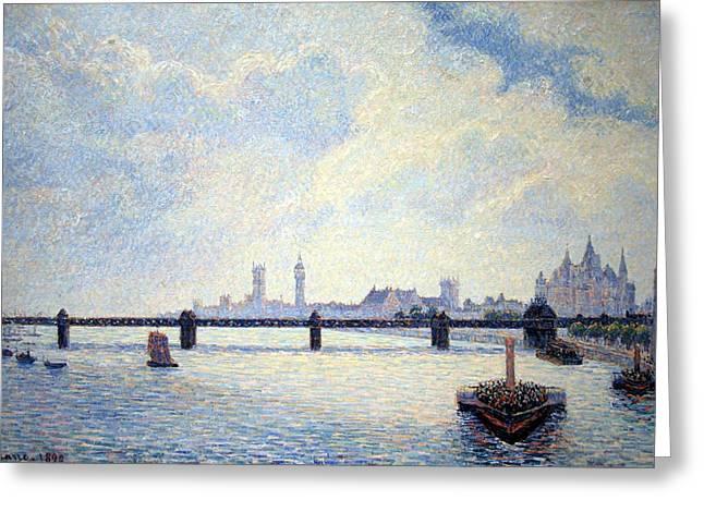 Pissarro's Charing Cross Bridge In London Greeting Card by Cora Wandel