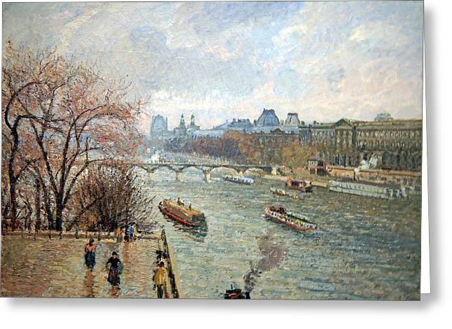 Pissarro's Louvre In Late Afternoon Rainy Weather Greeting Card by Cora Wandel