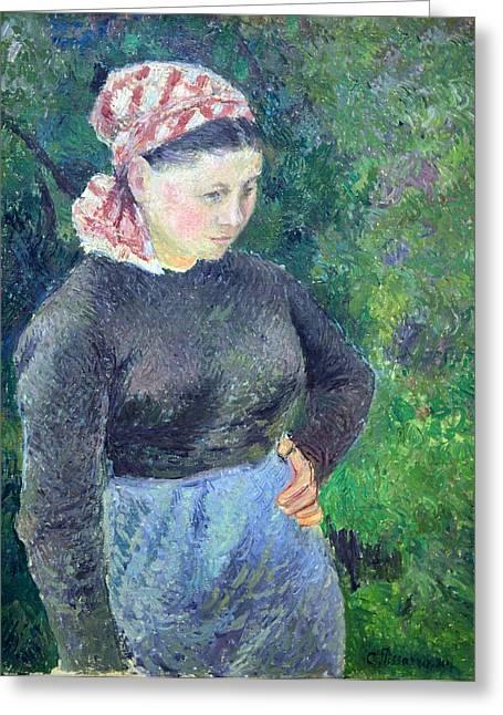 Pissarro's Peasant Woman Greeting Card by Cora Wandel