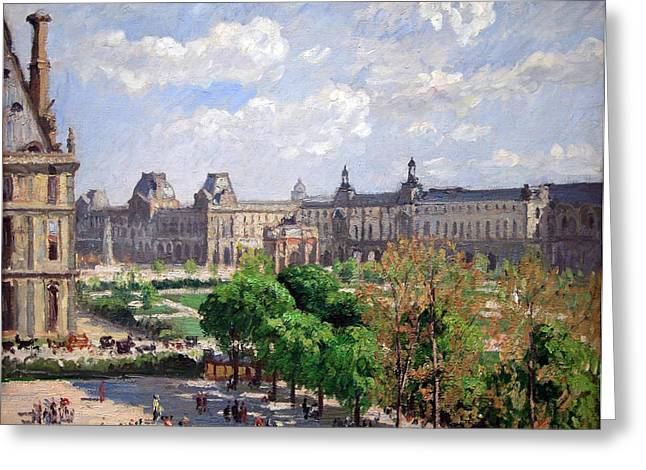 Pissarro's Place Du Carrousel In Paris Greeting Card by Cora Wandel