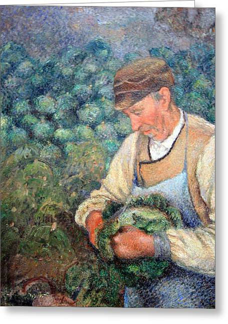 Pissarro's The Gardener -- Old Peasant With Cabbage Greeting Card by Cora Wandel
