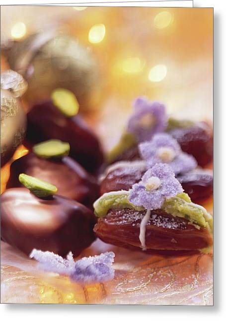Pistachio Dates (dates Stuffed With Pistachio Marzipan) Greeting Card