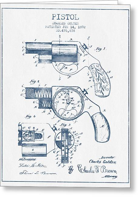 Pistol Patent From 1892 -  Blue Ink Greeting Card