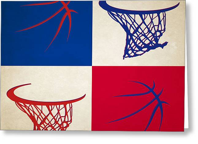 Pistons Ball And Hoop Greeting Card by Joe Hamilton