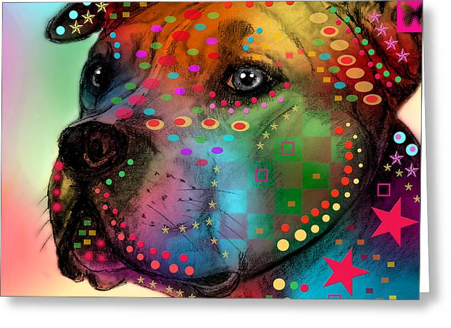 Pit Bull Greeting Card by Mark Ashkenazi