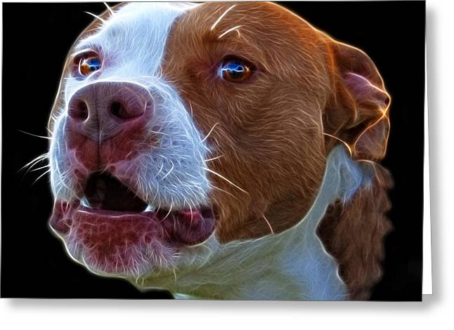 Pitbull 7769 - Bb - Fractal Dog Art Greeting Card
