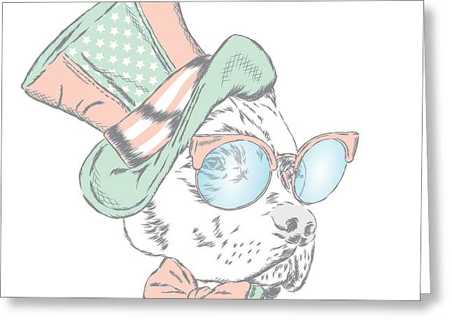 Pitbull In An Unusual Hat And Greeting Card by Vitaly Grin