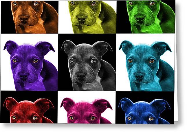 Pitbull Puppy Pop Art - 7085 V1 - M Greeting Card by James Ahn