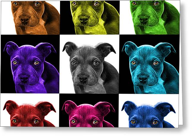 Pitbull Puppy Pop Art - 7085 V2 - M Greeting Card by James Ahn