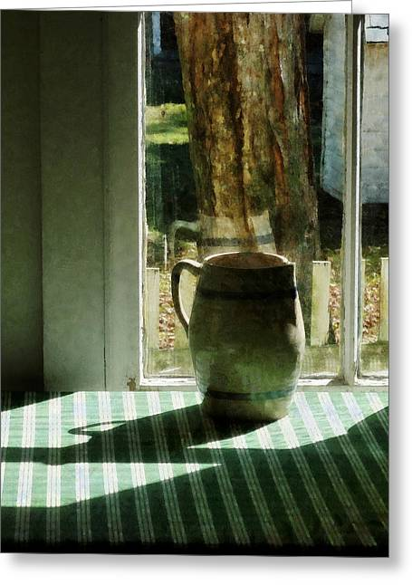 Pitcher By Window Greeting Card by Susan Savad
