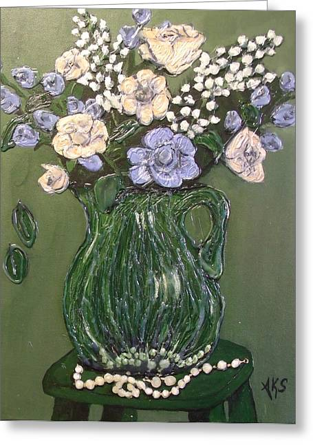 Pitcher In Green Greeting Card