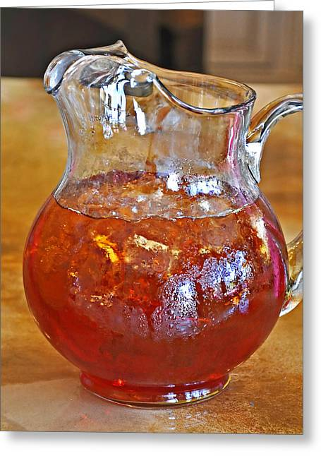 Pitcher Of Iced Tea Greeting Card by Valerie Garner